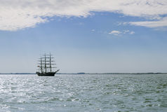 Tall ship in the sea Stock Photo
