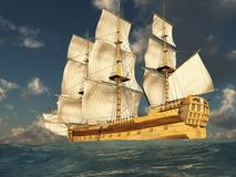 Tall Ship at Sea 2. 3D render depicting a tall ship at sea on a sunny day Stock Images