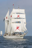 Tall ship Shabab Oman. Shabab Oman in light wind during racestart in southern Baltic Sea. RNOV Shabab Oman is a barquentine which serves as a training ship for Stock Image