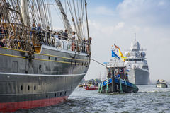 Tall ship the Stad Amsterdam is sailing from IJmuiden to Amsterdam during the big event SAIL. Stock Photos