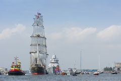 Tall ship the Stad Amsterdam is sailing from IJmuiden to Amsterdam during the big event SAIL. Royalty Free Stock Photos
