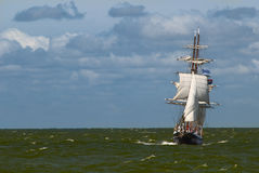 A tall ship on a stormy day. Sailing towards the viewer royalty free stock photography