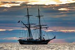 Tall ship at sunset Royalty Free Stock Photos