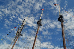 Tall ship three masts. Royalty Free Stock Photos
