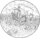 Tall Ship Turbulent Sea Serpents Black and White Drawing Stock Image