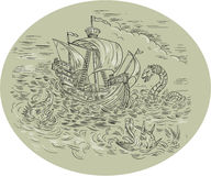 Tall Ship Turbulent Sea Serpents Oval Drawing. Medieval drawing sketch style illustration of a tall ship sailing in turbulent ocean sea with serpents and sea Stock Photos