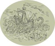 Tall Ship Turbulent Sea Serpents Oval Drawing Stock Photos