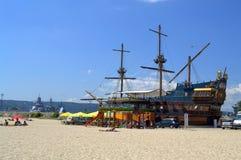 Tall ship at Varna beach Stock Photo
