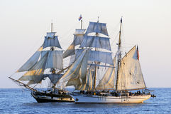 Tall ships. Sail together in Southern California during a tall ship event Royalty Free Stock Image