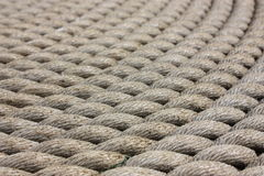 The Tall Ships - a coil of rope - details. A coil of rope on The deck of The Tall Ship in Glasgow Stock Image