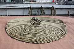 The Tall Ships - a coil of rope - details. A coil of rope on The deck of The Tall Ship in Glasgow Royalty Free Stock Image
