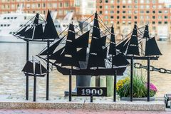 Tall Ships Cut Out in Metal. Boston, United States: October 12, 2017: Tall Ships Cut Out in Metal Royalty Free Stock Photos
