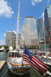 Tall ships docked at the North Cove Marina at Battery Park in Manhattan Stock Photo