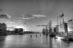 Tall ships at Dublin bay. At sunrise - black and white Stock Photo