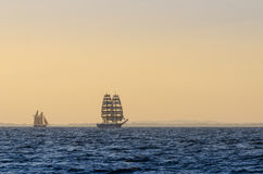 Tall ships early morning light. Tall ships sailing in early morning light. Oresund, Scania, Sweden Royalty Free Stock Photos