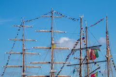Tall Ships event. Is a big nautical event where big majestic ships with sails are presented to the public for visitation Royalty Free Stock Photography