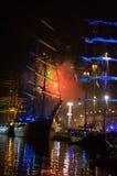 Tall Ships fireworks Varna Port Bulgaria Stock Image