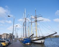 Tall ships in the harbor of kampen in the netherlands. Tall ships in the harbor of old dutch city kampen in the netherlands Stock Photography