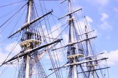 Tall ships mast and rigging. 3 masted tall ship, rigging and sails of a tall ship, sails, maritime history royalty free stock image
