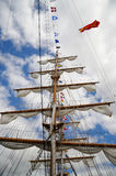 Tall ships masts with rigging stock image
