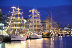 Tall Ships moored at the Liffey, Dublin stock image