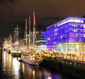 Tall ships moored at the liffey - Dublin stock photo
