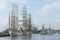 Tall Ships moored in port of Klaipeda Royalty Free Stock Photography