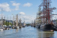 Tall Ships moored in Turku. During The Tall Ships´ Races 2017. Aura river, Turku, Finland Stock Photography