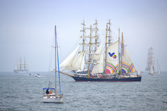 Tall ships parade. Enchanting Parade of sails.Fascinating vessels fairy tale sea view.Bulgarian tall ship Kaliakra.Picture taken on International Tall ships Royalty Free Stock Images