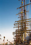 Tall ships in port. Tall ships parade in Klaipeda port during 2009 races early morning cloudless sky Royalty Free Stock Image