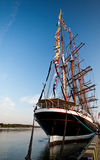 Tall ships in port. Tall ship in Klaipeda port cloudless sky Royalty Free Stock Photography