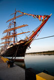 Tall ships in port. Tall ships parade in Klaipeda port during 2009 races Royalty Free Stock Image