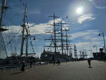 Tall ships on port Stock Image