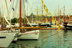 Tall Ships Races in harbour on July 25, 2014 in Bergen, Norway. Stock Images