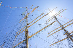THE TALL SHIPS RACES KOTKA 2017. Kotka, Finland 16.07.2017. Masts of Barque Kruzenshtern in the sunlight in the port of Kotka, Fin Royalty Free Stock Photos