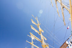 THE TALL SHIPS RACES KOTKA 2017. Kotka, Finland 16.07.2017. Masts of ship Mir in the sunlight in the port of Kotka, Finland. Stock Photos