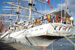 Big sailing ship in port of Szczecin Royalty Free Stock Photography