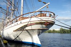 Big sailing ship in port of Szczecin Stock Images