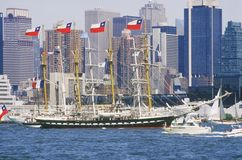 Tall ships sailing down the Hudson River during the 100 year celebration for the Statue of Liberty, July 4, 1986 Royalty Free Stock Photography