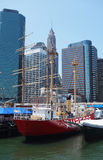 Tall ships in South Street Seaport Museum at Pier 17 in lower Manhattan royalty free stock photo