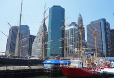 Tall ships in South Street Seaport Museum at Pier 17 in lower Manhattan Royalty Free Stock Photography