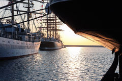 Tall ships on sunset Stock Photography