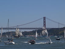 Tall ships in Tagus river Lisbon city Stock Photography