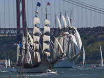 Tall ships in Tagus river Lisbon city Stock Photo