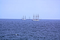 The Tall Ships. Three tall ships are waiting to enter historic Boston Harbor for ` Sail Boston 2017`. Boston is the only port they will visit in the United stock photo