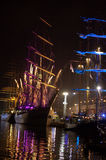 Tall ships Varna Port Bulgaria at night Stock Photo