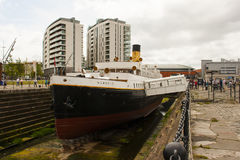 Tall ships visit July 2015 and SS Nomadic, tender to the Titanic is an added attraction in Belfast`s Titanic quarter. Tall ships visit July 2015 and SS Nomadic stock photo