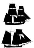Tall ships of XVIII  century outlines Royalty Free Stock Photos