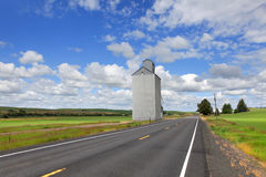 Tall silo in the farm Stock Photos