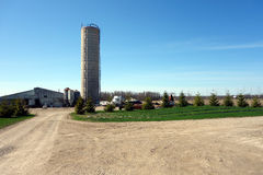 A tall silo at a pig farm Royalty Free Stock Image